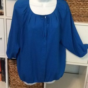 Ann Taylor jewel tone blouse with tie front